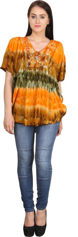 Indian Fashion Guru Casual Butterfly Sleeve Printed Women's Multicolor Top