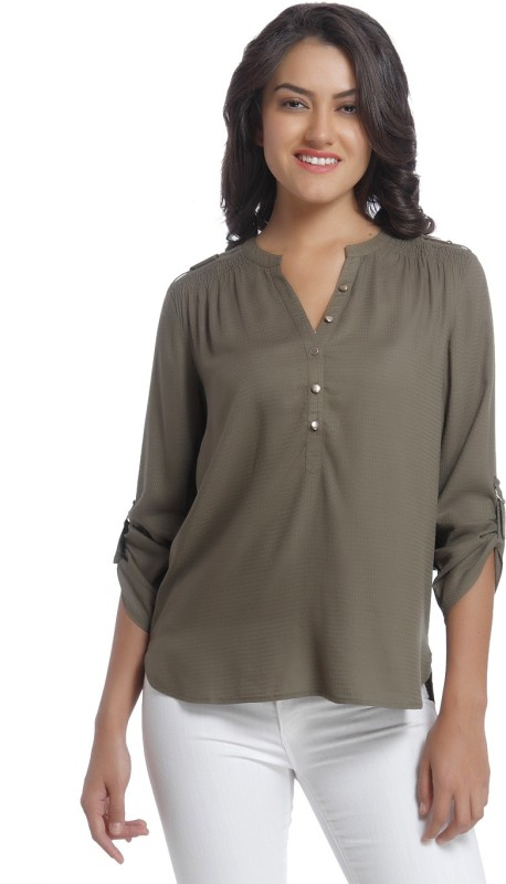 Only Casual 3/4 Sleeve Solid Women Green Top
