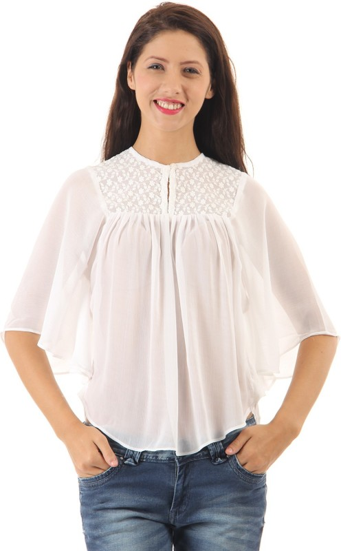 Pepe Jeans Casual Butterfly Sleeve Solid Women White Top