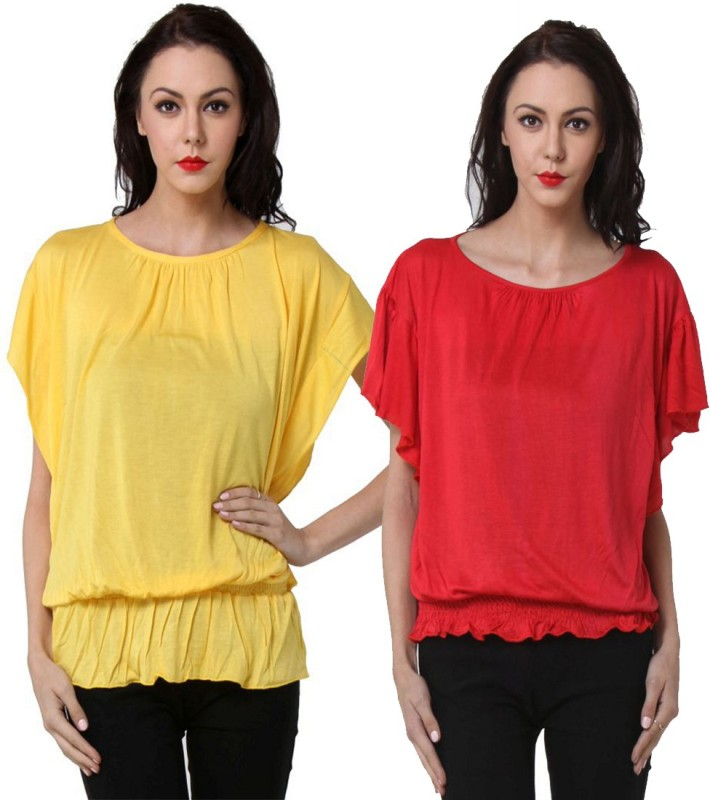 TeeMoods Casual Butterfly Sleeve Solid Women's Red, Yellow Top