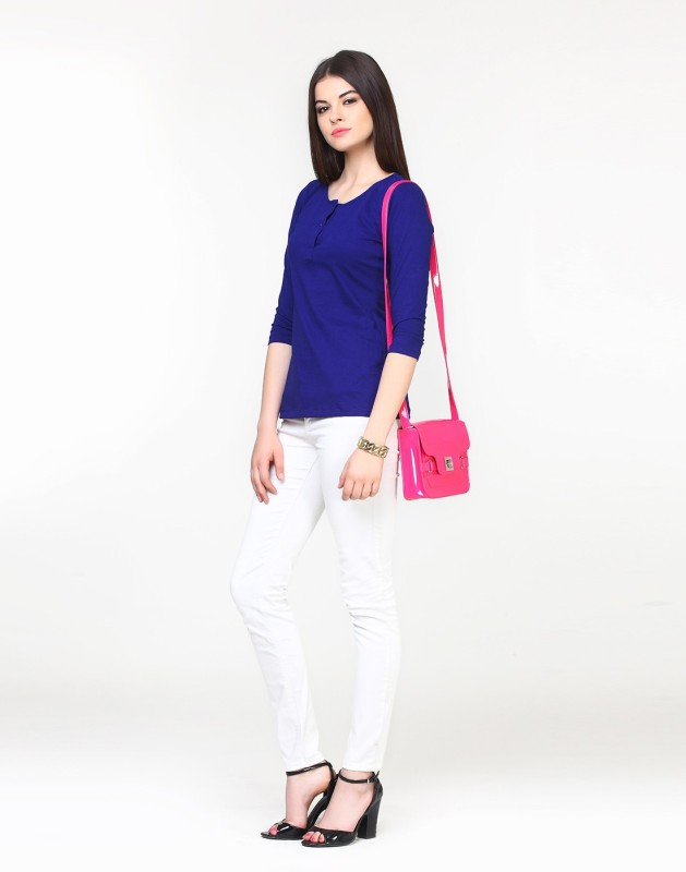 FabAlley Casual Full Sleeve Solid Women's Blue Top