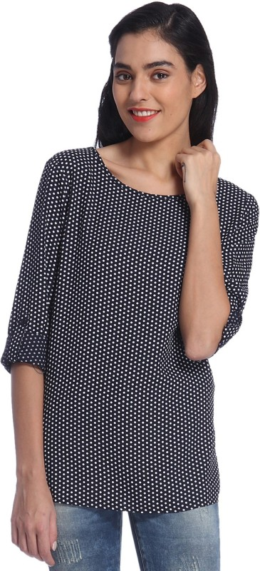 Only Casual Roll-up Sleeve Polka Print Women Dark Blue Top