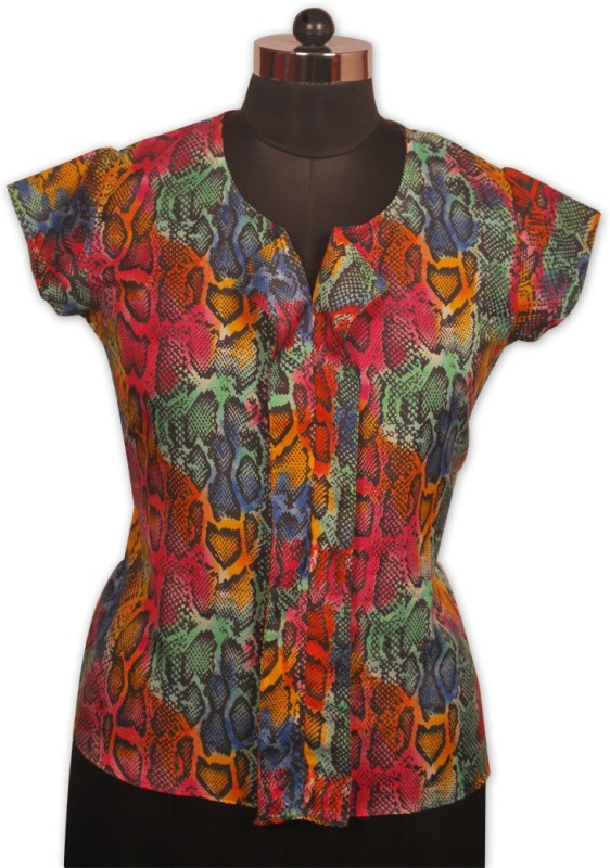 Indian Rain Casual Short Sleeve Animal Print Women Multicolor Top