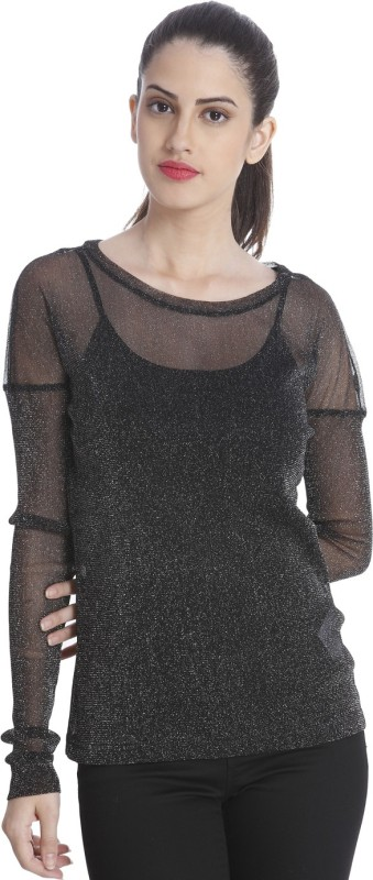 Only Casual Full Sleeve Embellished Women Black Top