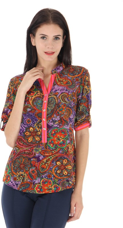Just In Time Casual Roll-up Sleeve Floral Print Women Multicolor Top