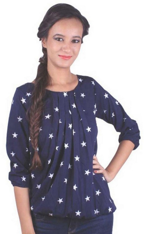 Sukanyaa Sukanyaa Casual 3/4 Sleeve Printed Women Dark Blue, White Top
