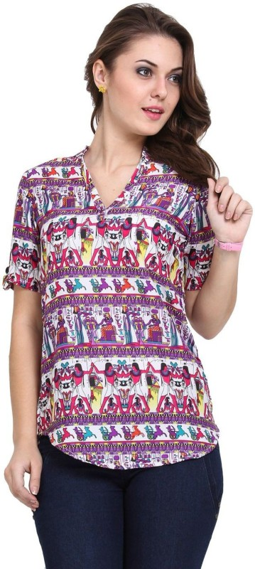 4 Aces Casual Short Sleeve Printed Women Multicolor Top