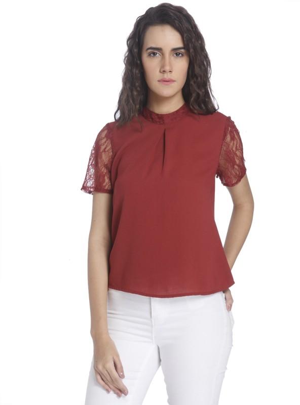 Vero Moda Casual Half Sleeve Solid Women's Maroon Top