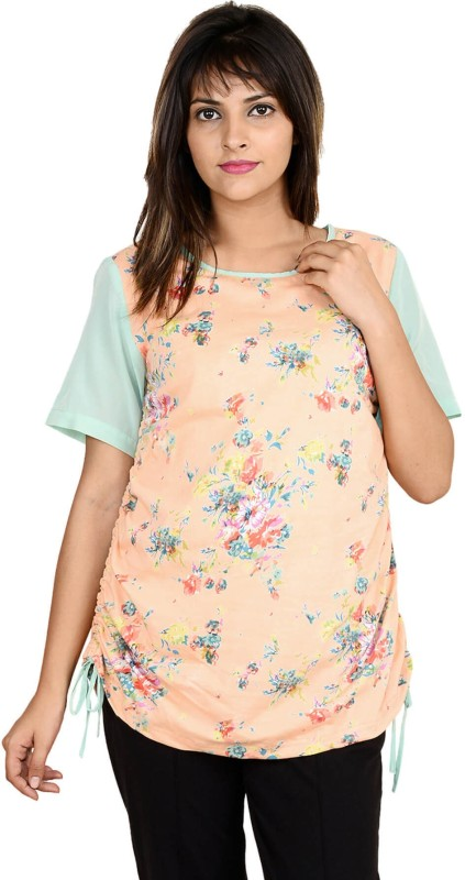 9teen Again Casual Short Sleeve Printed Women Pink Top