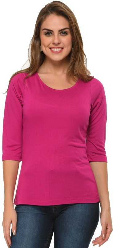 Frenchtrendz Casual 3/4 Sleeve Solid Women Purple Top