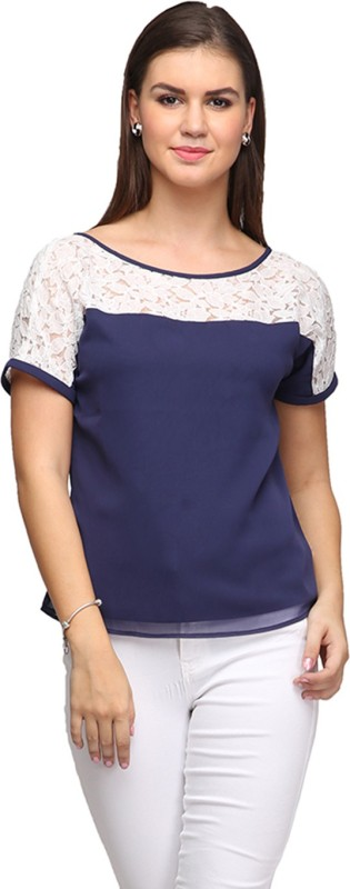 Eavan Casual Short Sleeve Solid Women Dark Blue Top
