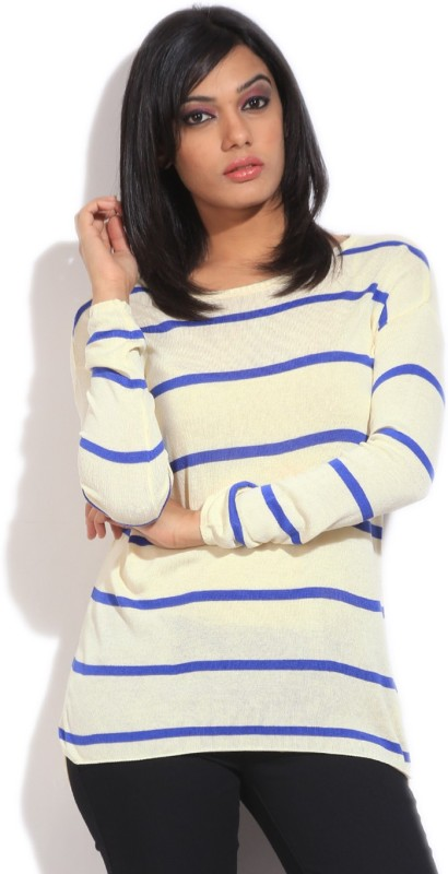 United Colors of Benetton Casual Full Sleeve Striped Womens Beige Top
