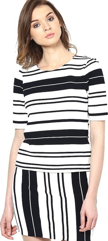 Vero Moda Casual Short Sleeve Striped Women Blue Top