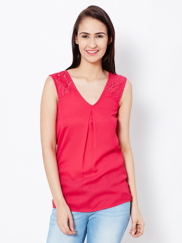 The Vanca Casual Sleeveless Solid Women Pink Top