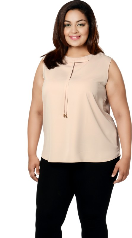 Calae Casual Sleeveless Solid Women Beige Top