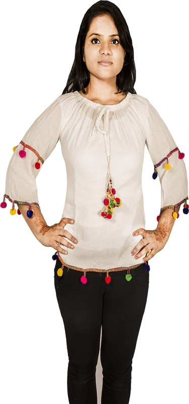 Mitra Creations Casual 3/4 Sleeve Solid Women White Top