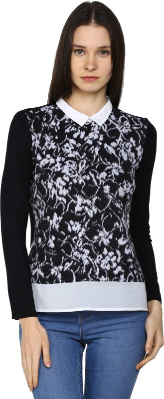 Arrow Casual Full Sleeve Solid Womens Black Top