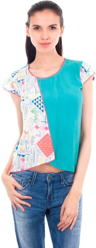 Forever 9teen Casual Short Sleeve Printed Women Green Top