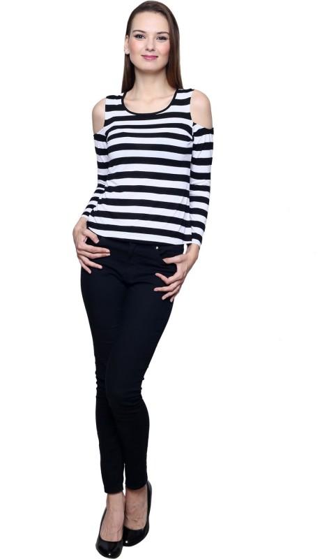 Trendsnu Casual Cold Shoulder Striped Women White, Black Top