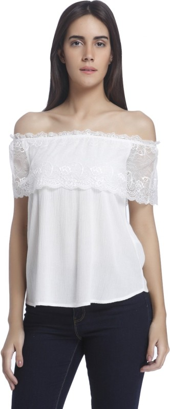 Vero Moda Casual Short Sleeve Solid Women's White Top