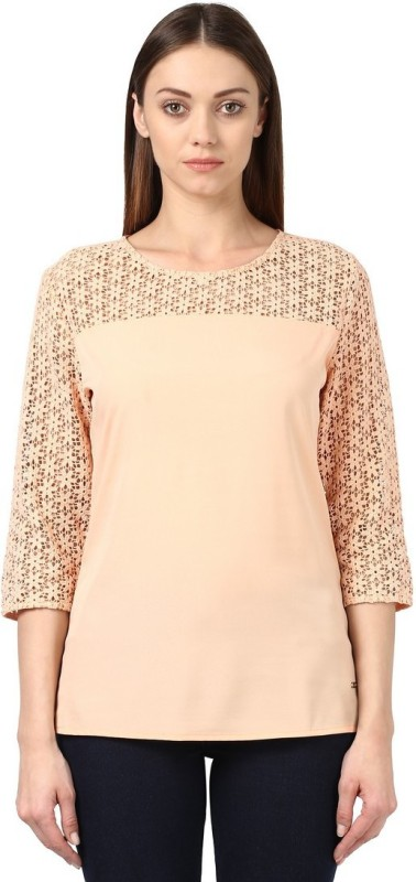 Park Avenue Formal 3/4th Sleeve Solid Womens Beige Top