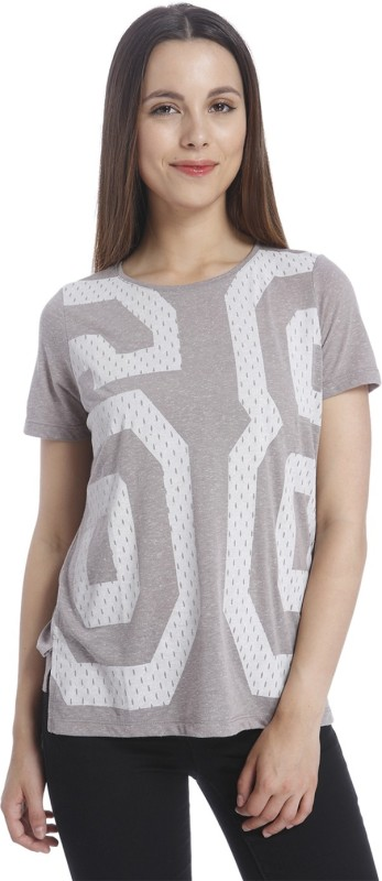 Vero Moda Casual Short Sleeve Printed Women White, Grey Top