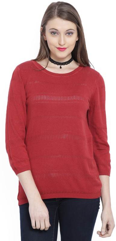 Allen Solly Casual 3/4 Sleeve Self Design Women Red Top