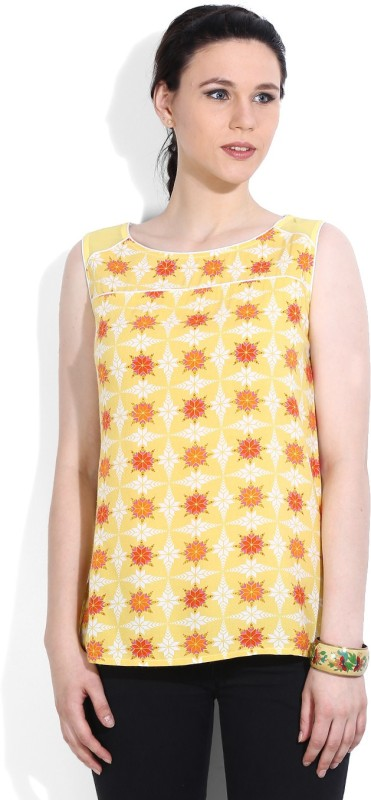 Imara Casual Sleeveless Printed Women Yellow top