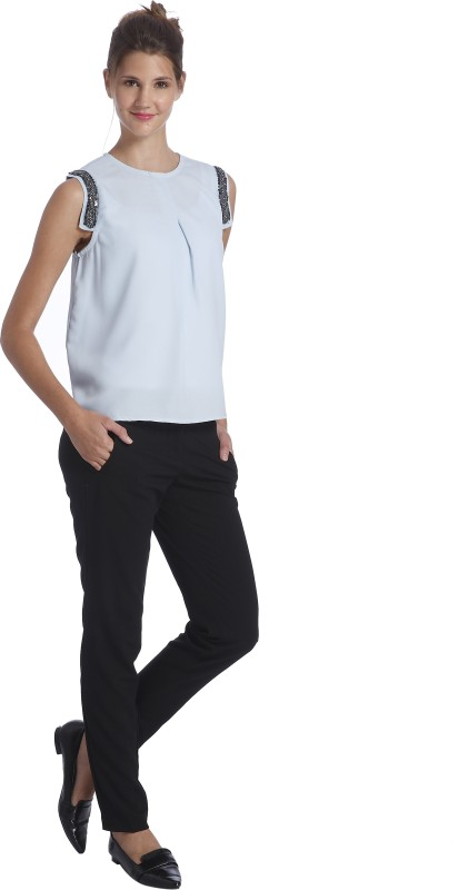 Only Casual Sleeveless Embellished, Solid Women Light Blue Top