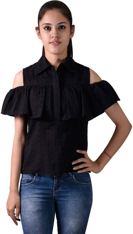 ISTRI Party Sleeveless Embroidered Women's Black Top