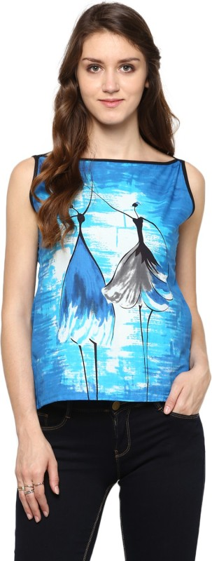 Jaipur Kurti Casual Sleeveless Printed Women Blue Top