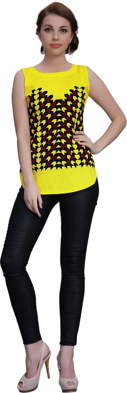 Ziyaa Casual Sleeveless Printed Women Yellow Top