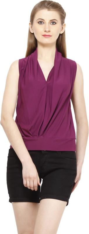 Peptrends Casual Sleeveless Solid Women's Purple Top