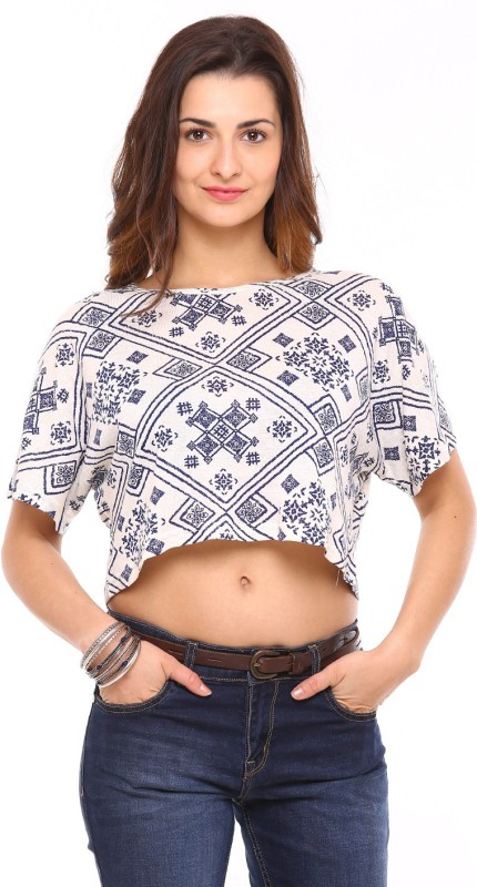 Vvoguish Casual Short Sleeve Printed Women White, Blue Top