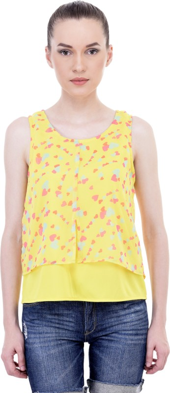 Sanchey Casual Sleeveless Printed Women Multicolor, Yellow Top
