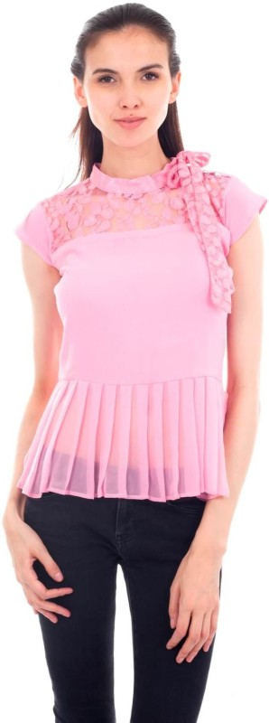 Forever 9teen Casual Cap Sleeve Lace Women Pink Top