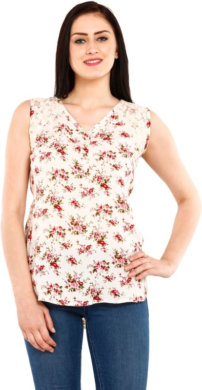 Mustard Casual Sleeveless Printed Women's White Top