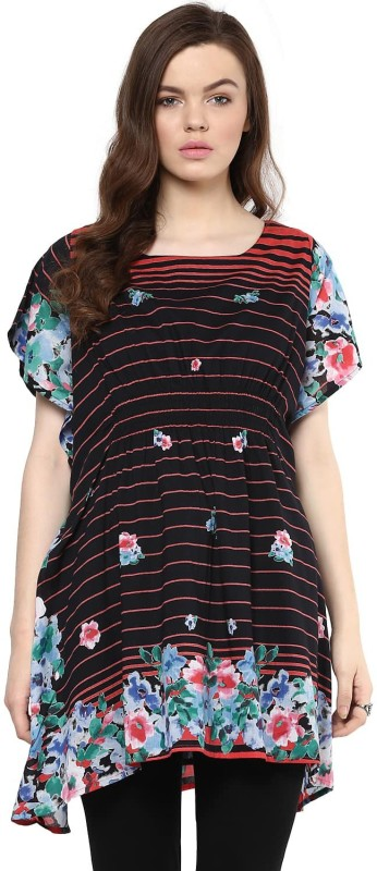 Florablanca Casual Short Sleeve Printed Women Black Top