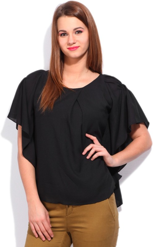 Cherokee Casual Kimono Sleeve Solid Women Black top