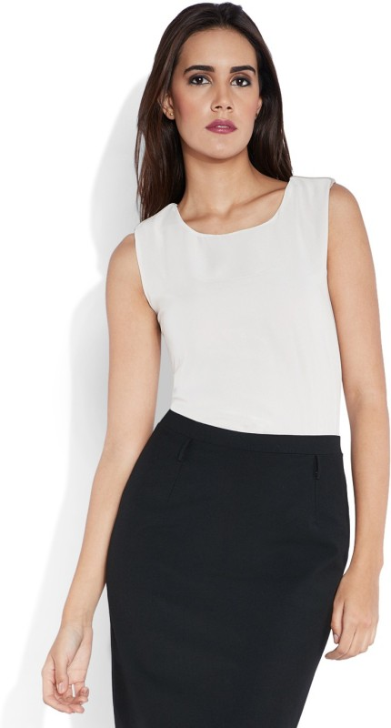 Park Avenue Formal Sleeveless Solid Womens White Top