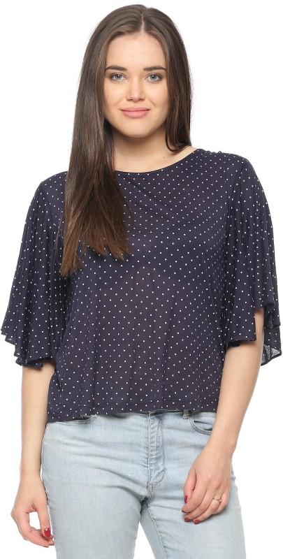 Vvoguish Casual Butterfly Sleeve Printed Women Dark Blue Top