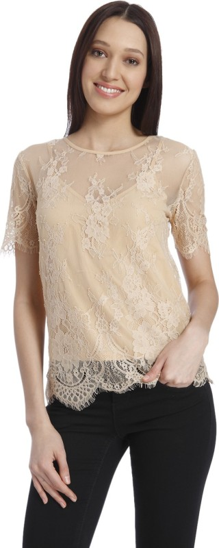 Vero Moda Casual Short Sleeve Self Design Women Beige Top