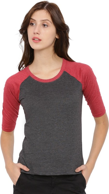 Campus Sutra Casual 3/4 Sleeve Solid Women Maroon Top