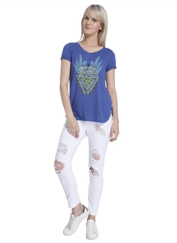 Vero Moda Casual Regular Sleeve Printed Women Blue Top