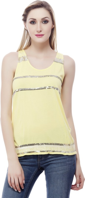 Subu Party Sleeveless Embellished Women Yellow Top