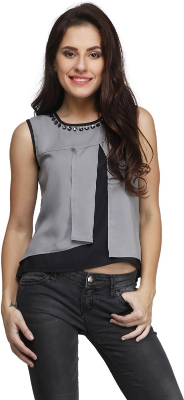 PRINTEMPS Casual Sleeveless Solid Women's Grey Top