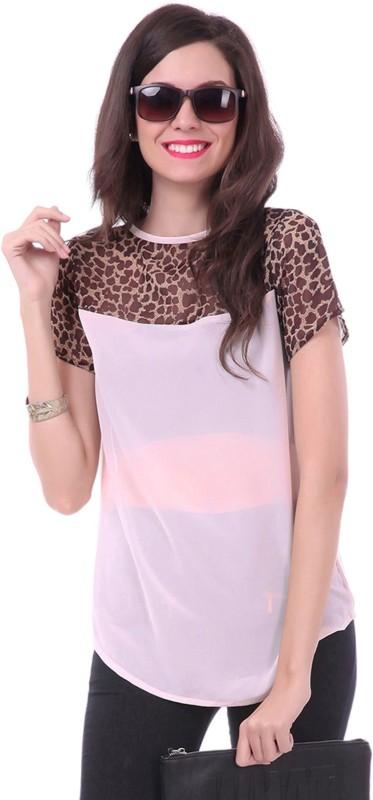 Sassafras Casual Short Sleeve Printed Women White, Brown Top
