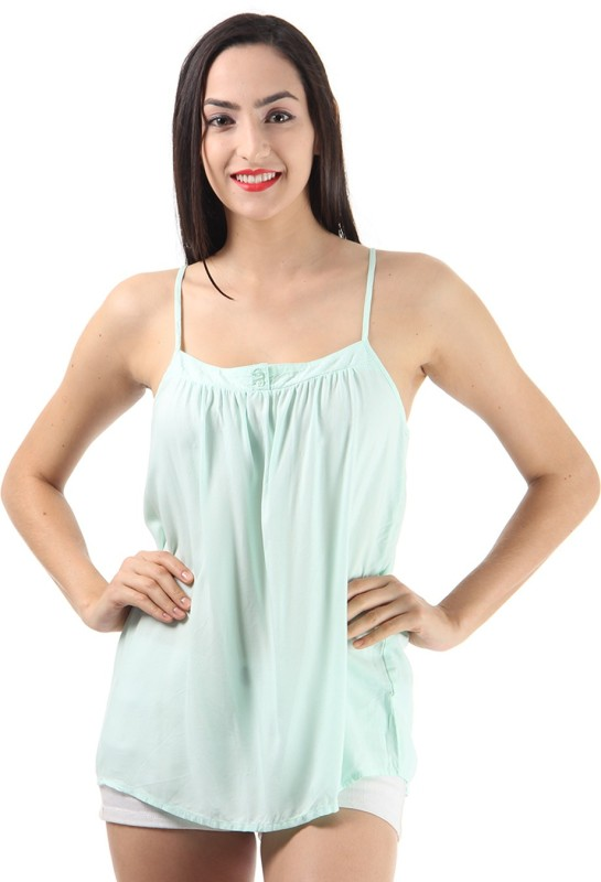 Only Casual Sleeveless Solid Women Light Green Top