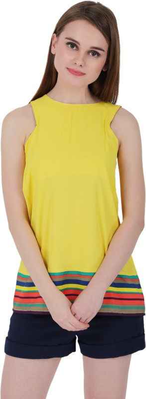 ELYwomen Casual Sleeveless Striped Women Yellow Top