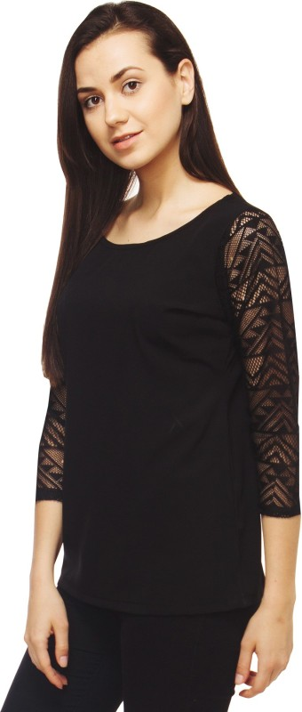 Adyuth Casual 3/4 Sleeve Solid Women Black Top